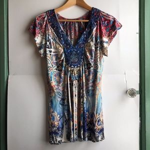 APT. 9 Yellow Ivory Floral Boho V-Neck Sequin Top